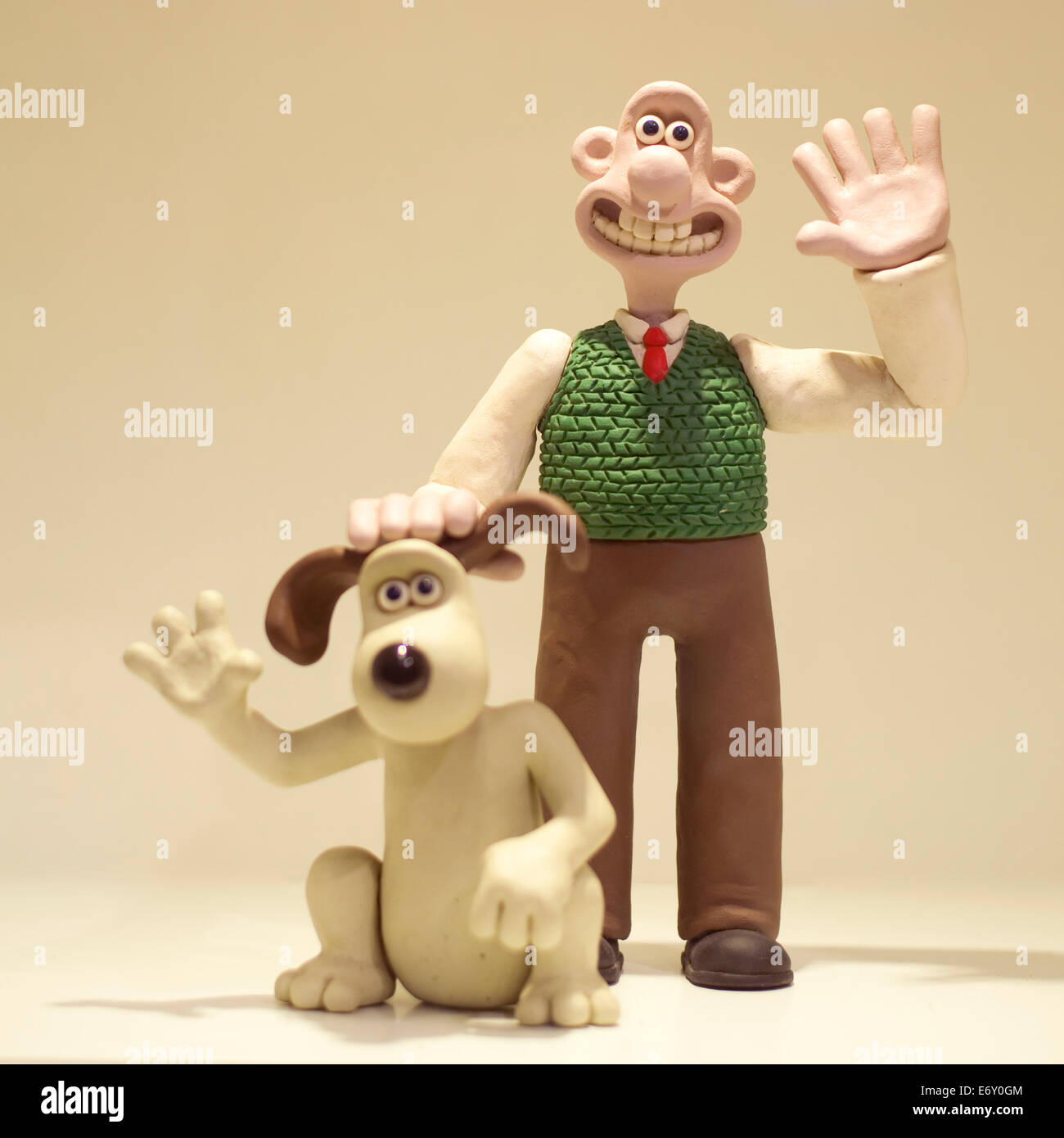 Wallace and Gromit characters waving These models are made from