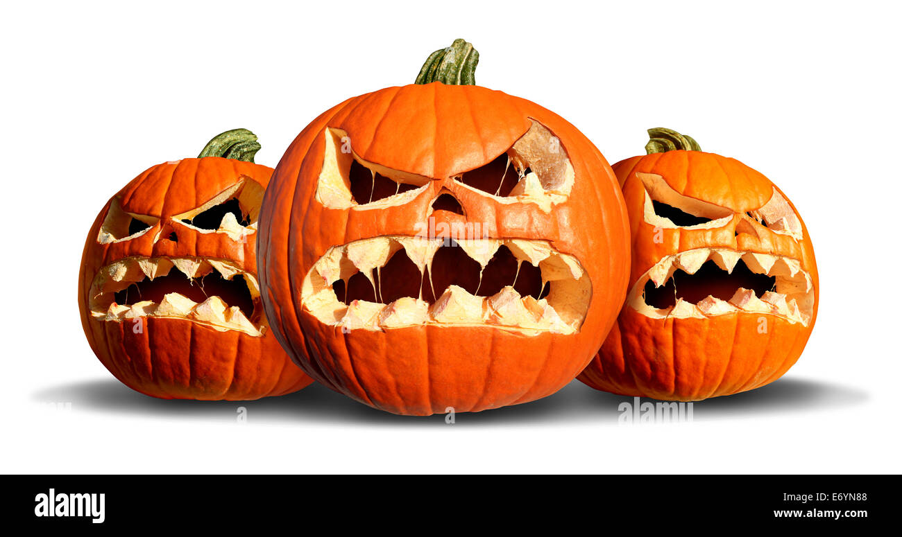 Uncategorized Pumpkin Scary pumpkin monster group with three scary pumpkins on a white background as concept and symbol