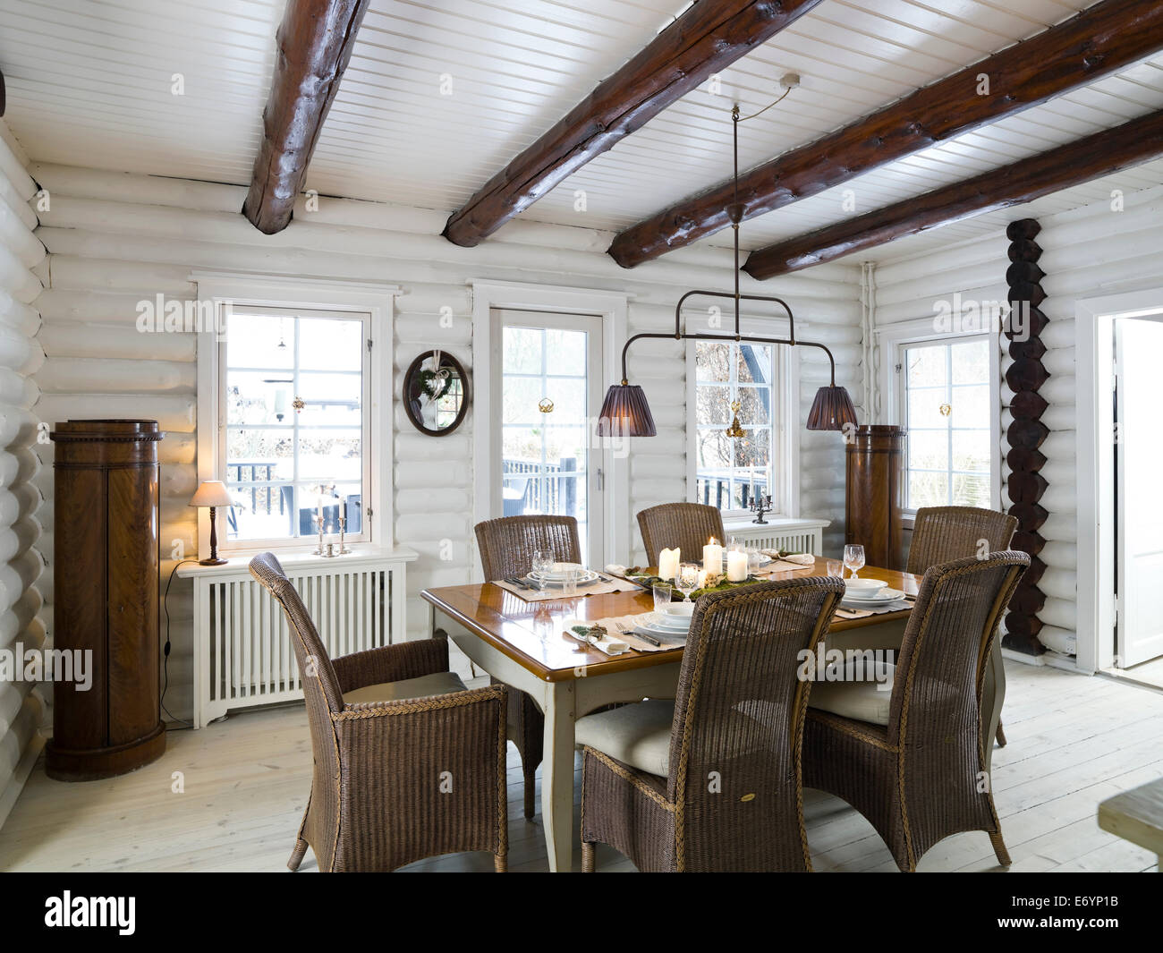Dining room in log cabin, Copenhagen, Denmark Stock Photo, Royalty ...