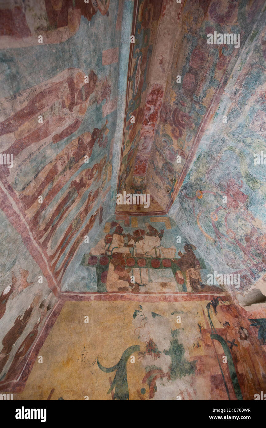 Mexico chiapas bonampak mayan archaeological site for Bonampak mural painting