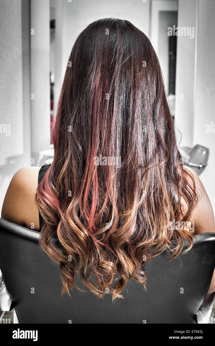 Rear view of young woman in hair salon with long brunette hair rear view of young woman in hair salon with long brunette hair with waves and pink highlights pmusecretfo Gallery