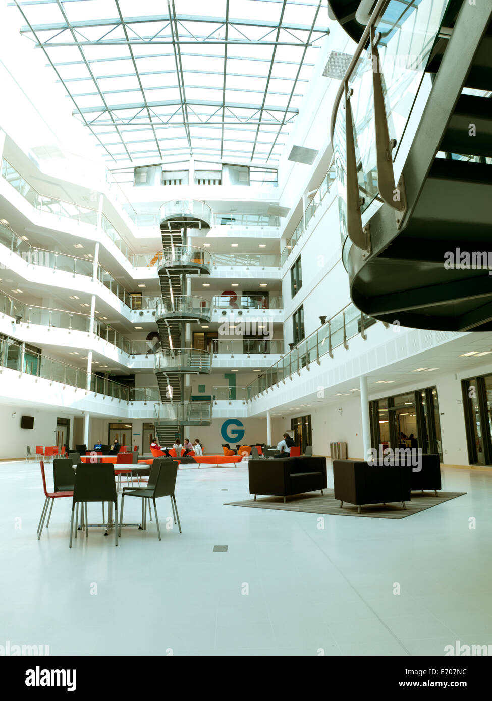 Modern college building atrium, Hastings, UK Stock Photo ...