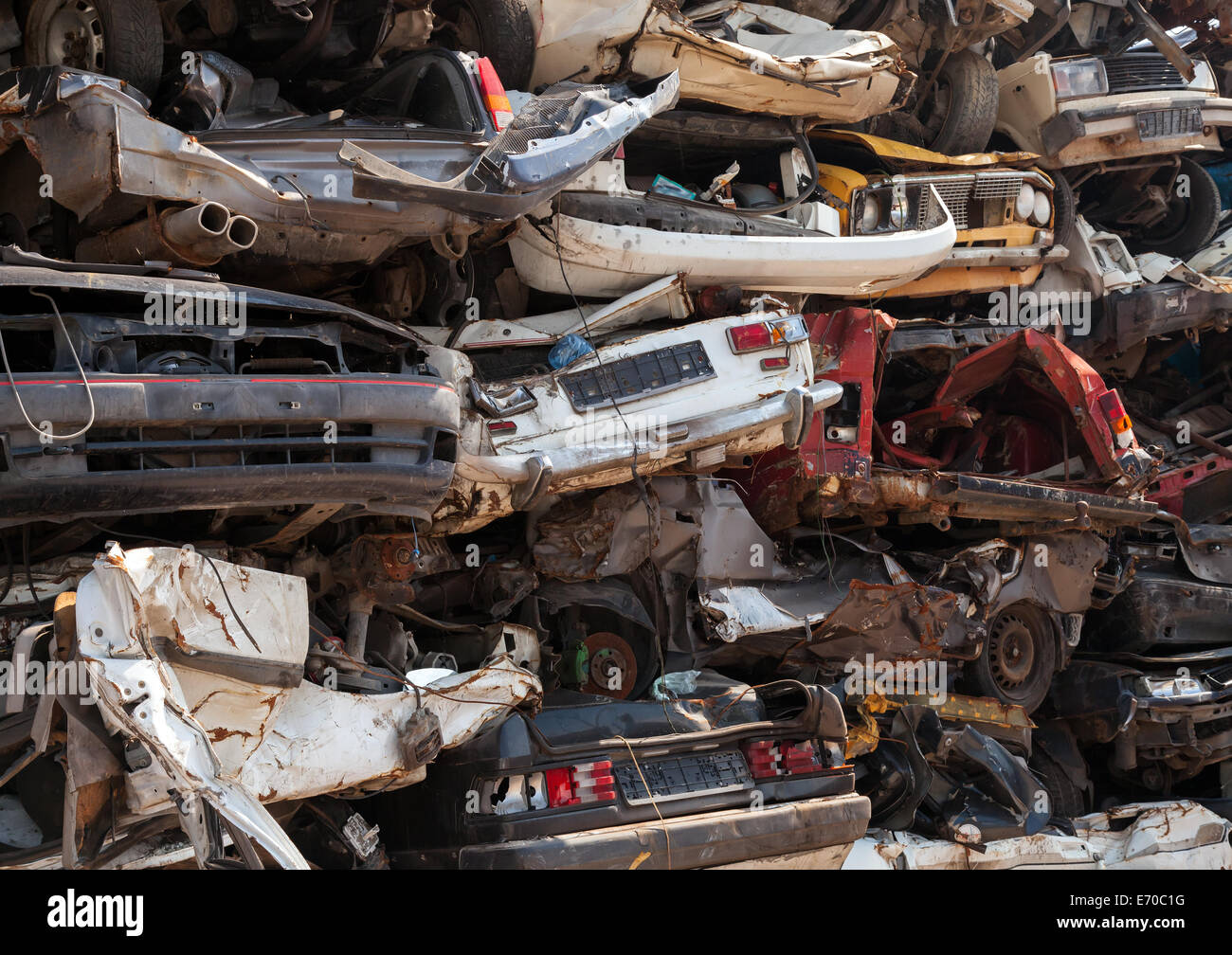 Abstract background, dump of stacked cars in junkyard Stock Photo ...