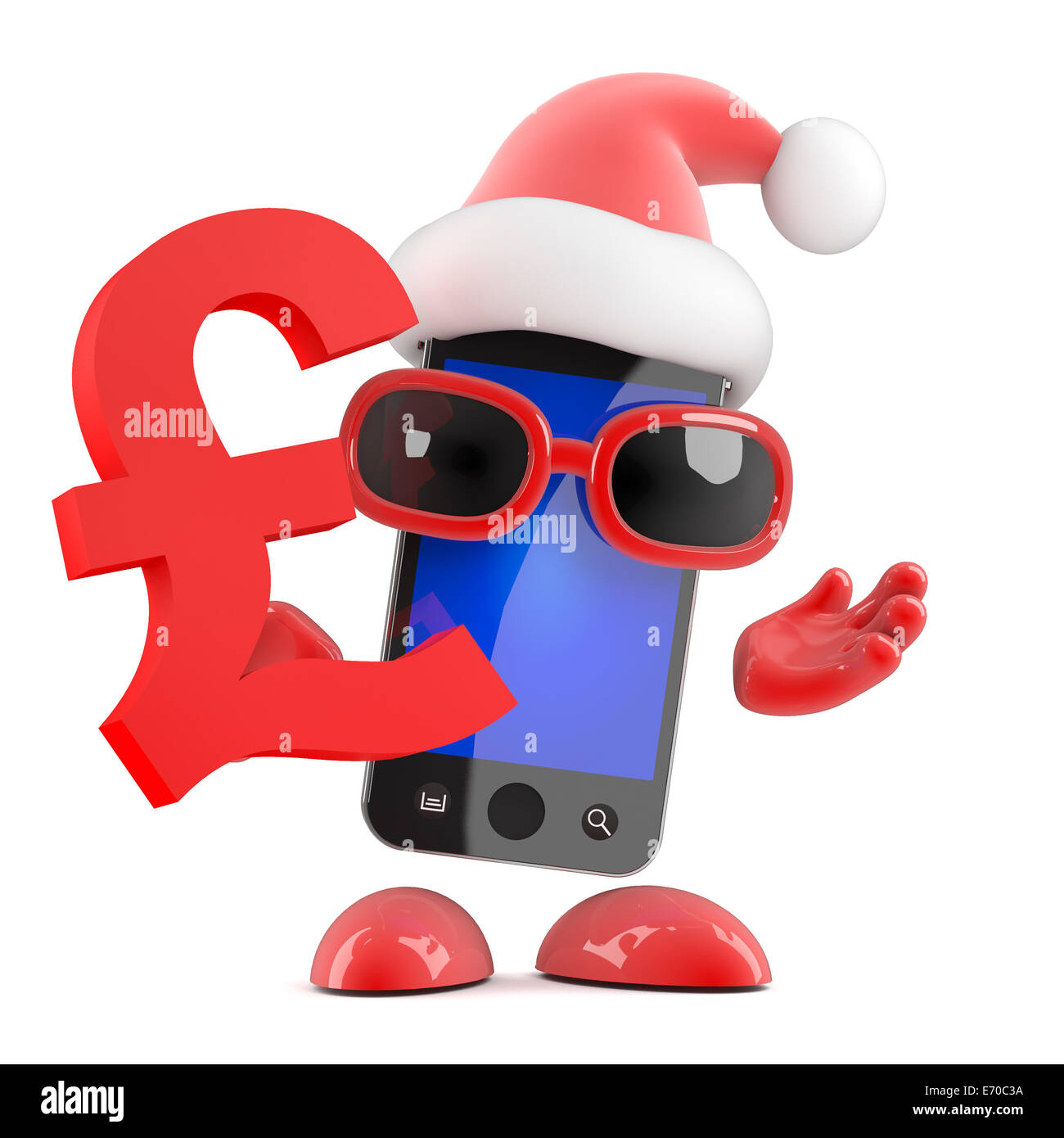 3d Render Of A Smartphone Dressed As Santa Holding A Uk Pounds Stock