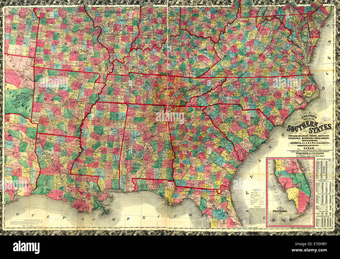Coltons Map Of The Southern States Including Maryland Delaware - Map of virginia and north carolina