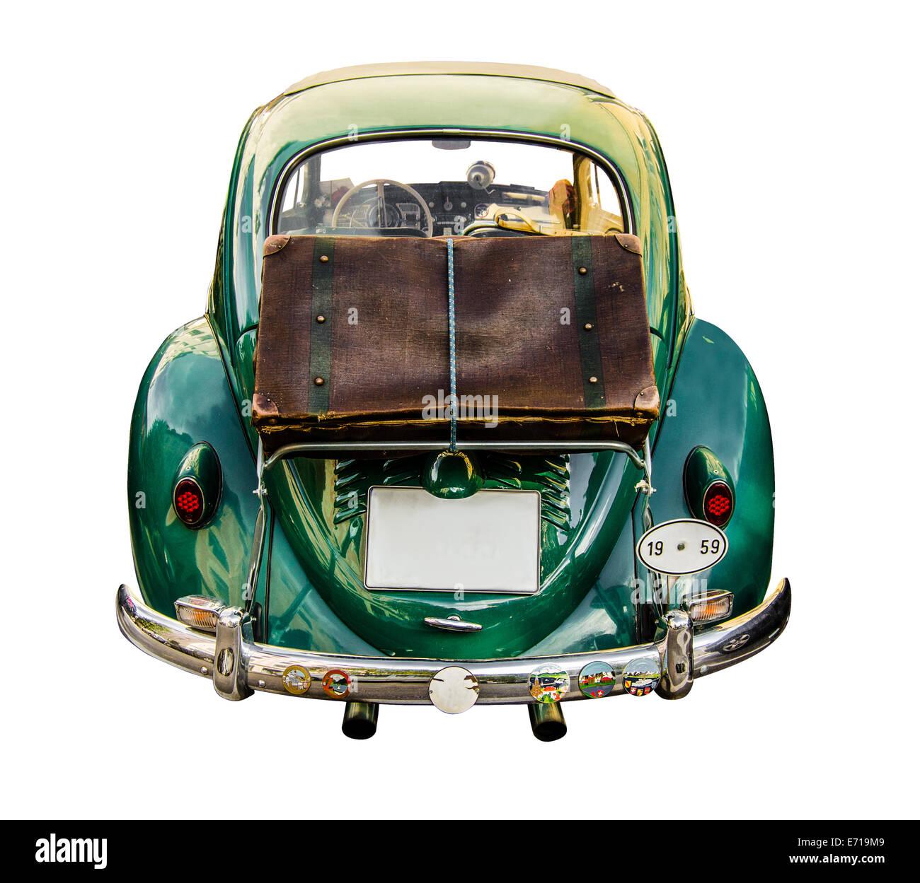 Vintage Car With Suitcase Luggage Stock Photo, Royalty Free Image ...
