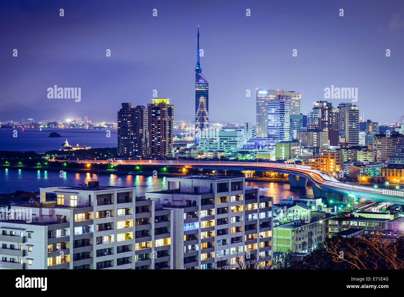 fukuoka japan downtown city skyline stock photo royalty