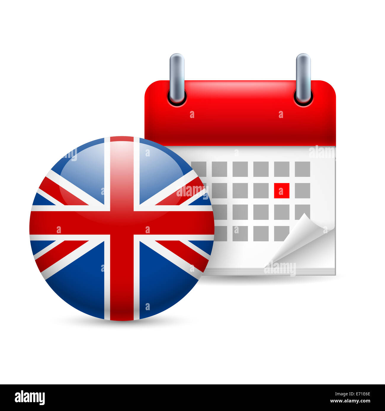 calendar and round british flag icon national holiday in great