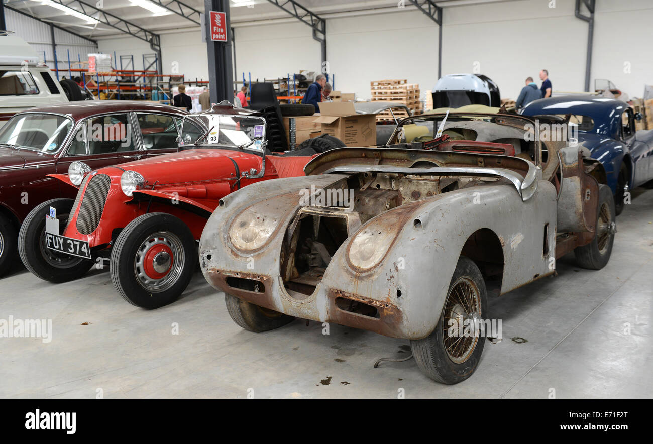 Old vintage cars Jaguar car waiting to be restored at Classic ...