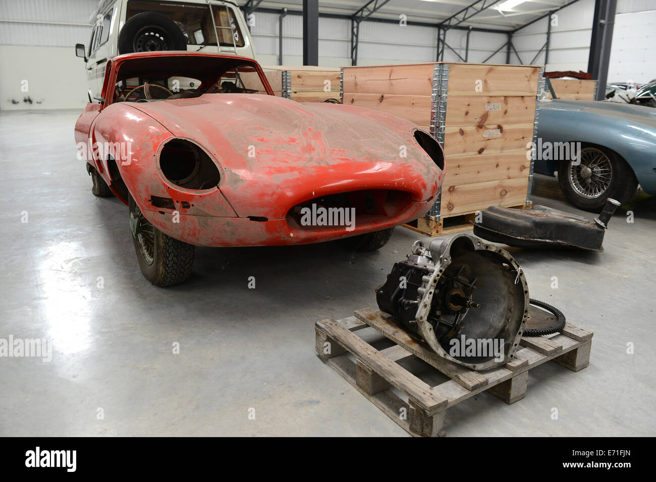 Old vintage cars E Type Jaguar car waiting to be restored at ...