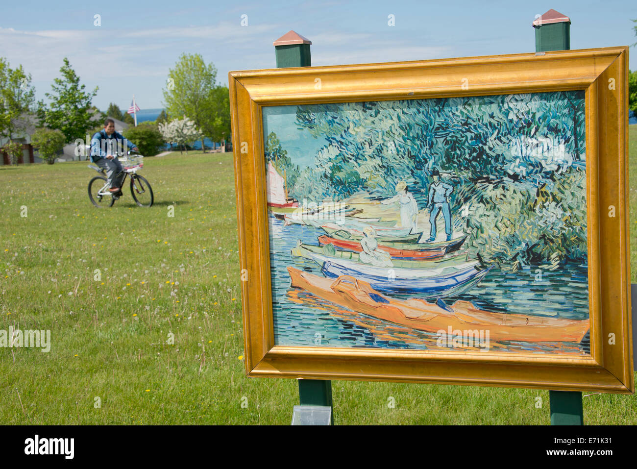 usa michigan mackinac island art in the park reproduction of