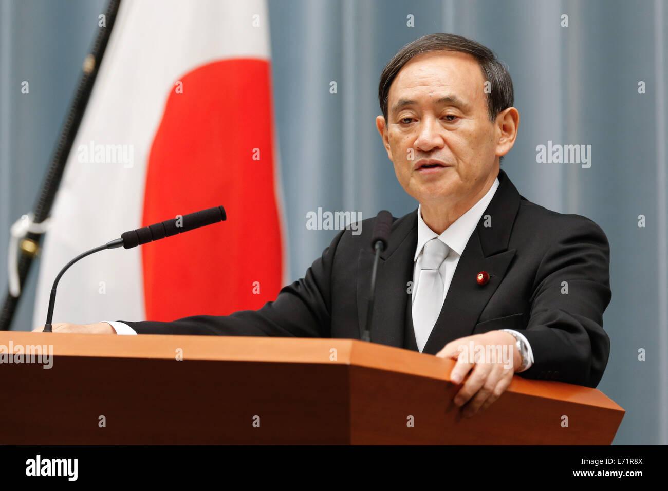 Tokyo, Japan. 3rd Sep, 2014. Chief Cabinet Secretary Yoshihide ...