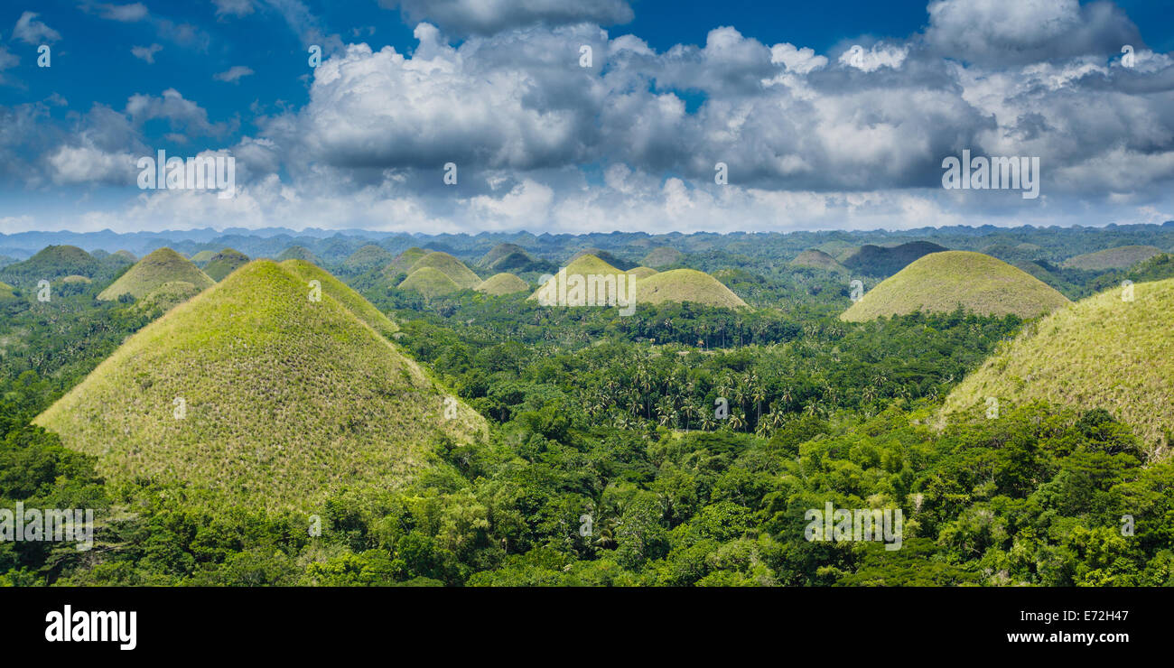 Chocolate Hills Bohol Philippines Green Mounds Blue Sky Fluffy ...