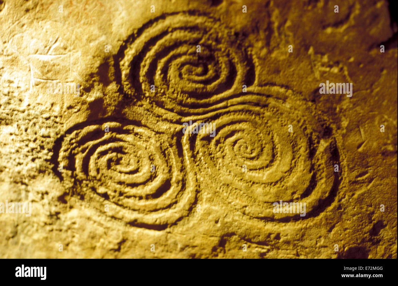 Interior of newgrange with triple spiral or triskele celtic and interior of newgrange with triple spiral or triskele celtic and pre celtic symbol ireland buycottarizona Images