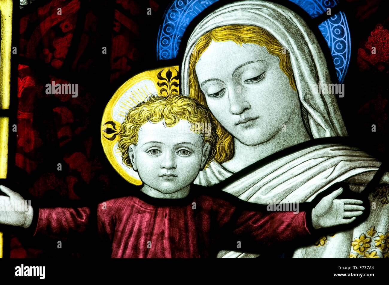 the blessed virgin mother mary and christ child jesus with open