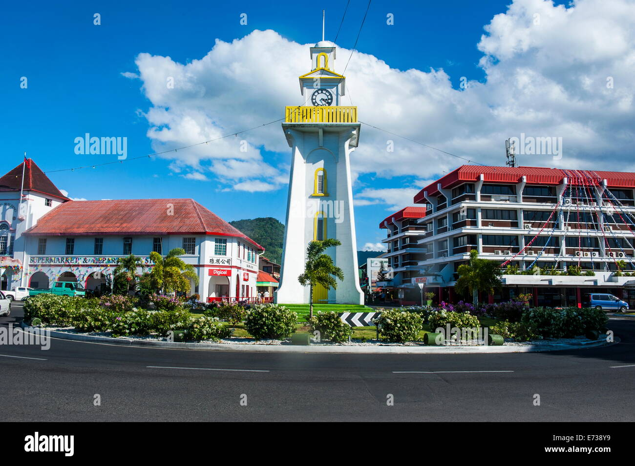 Clock tower in downtown Apia, Upolu, Samoa, South Pacific ...