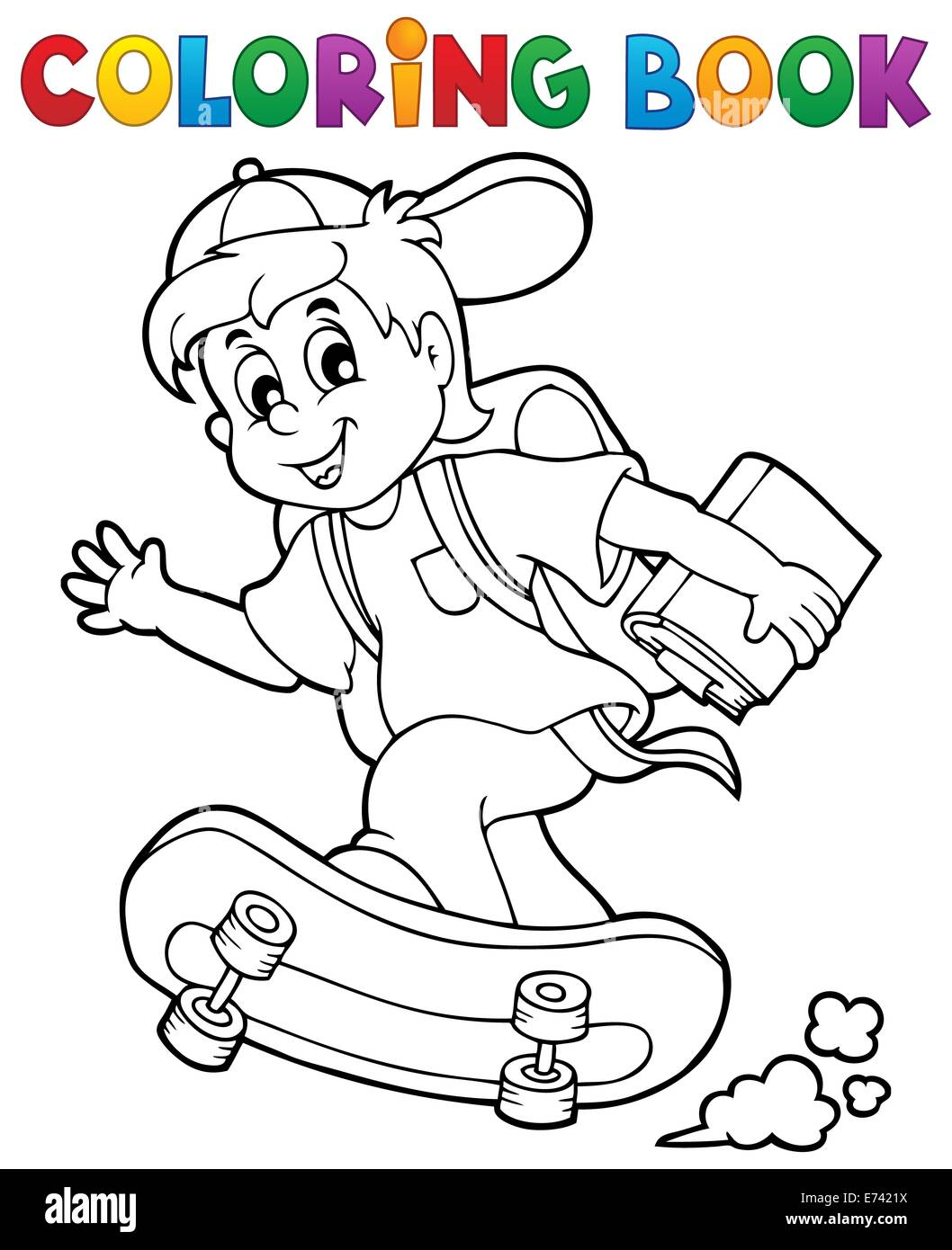 Coloring book school - Coloring Book School Boy Theme 1 Picture Illustration