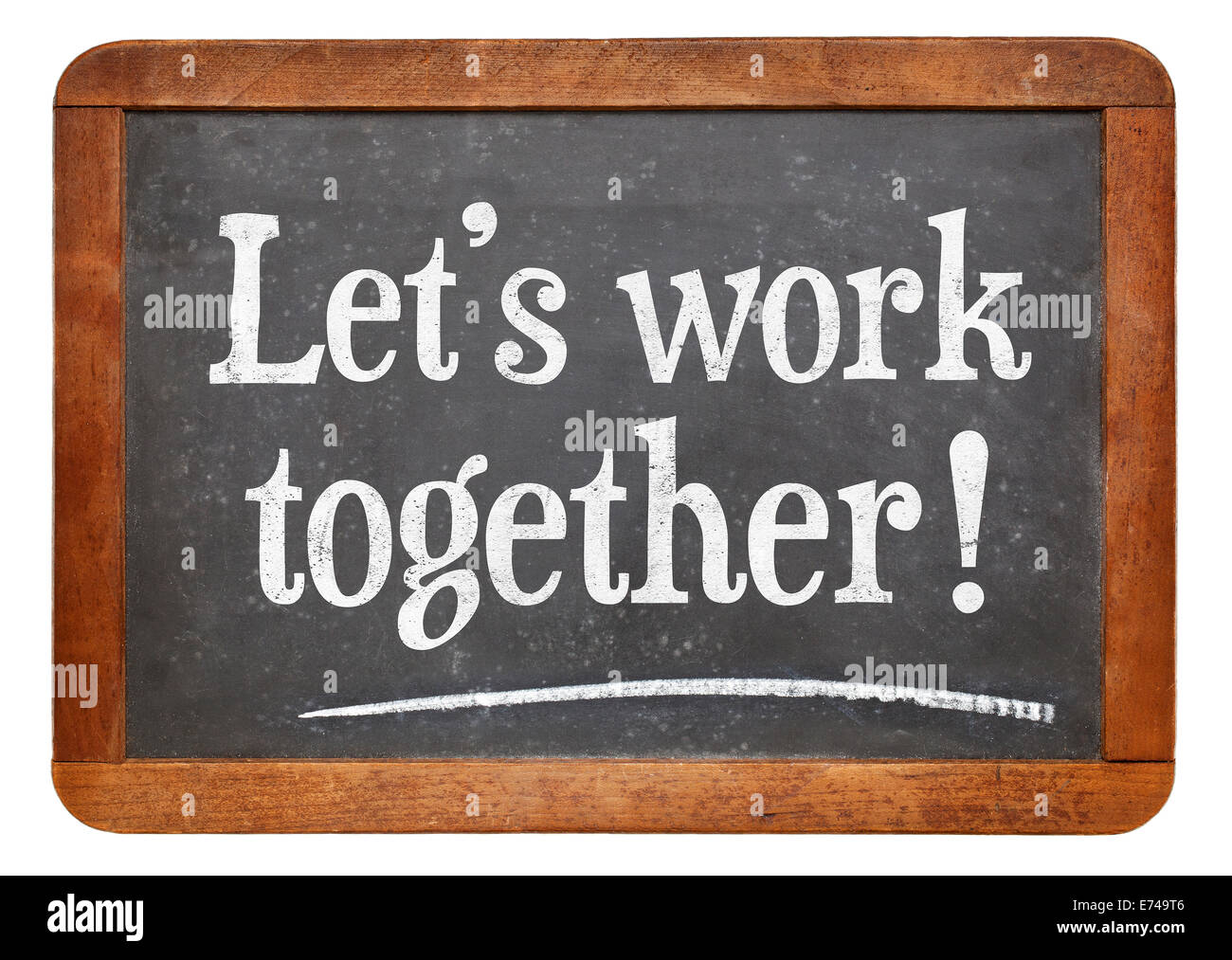 let 39 s work together teamwork concept on a vintage slate blackboard stock photo royalty free. Black Bedroom Furniture Sets. Home Design Ideas