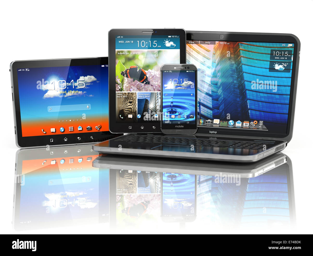 Mobile devices. Laptop, smartphone and tablet pc. 3d Stock ...
