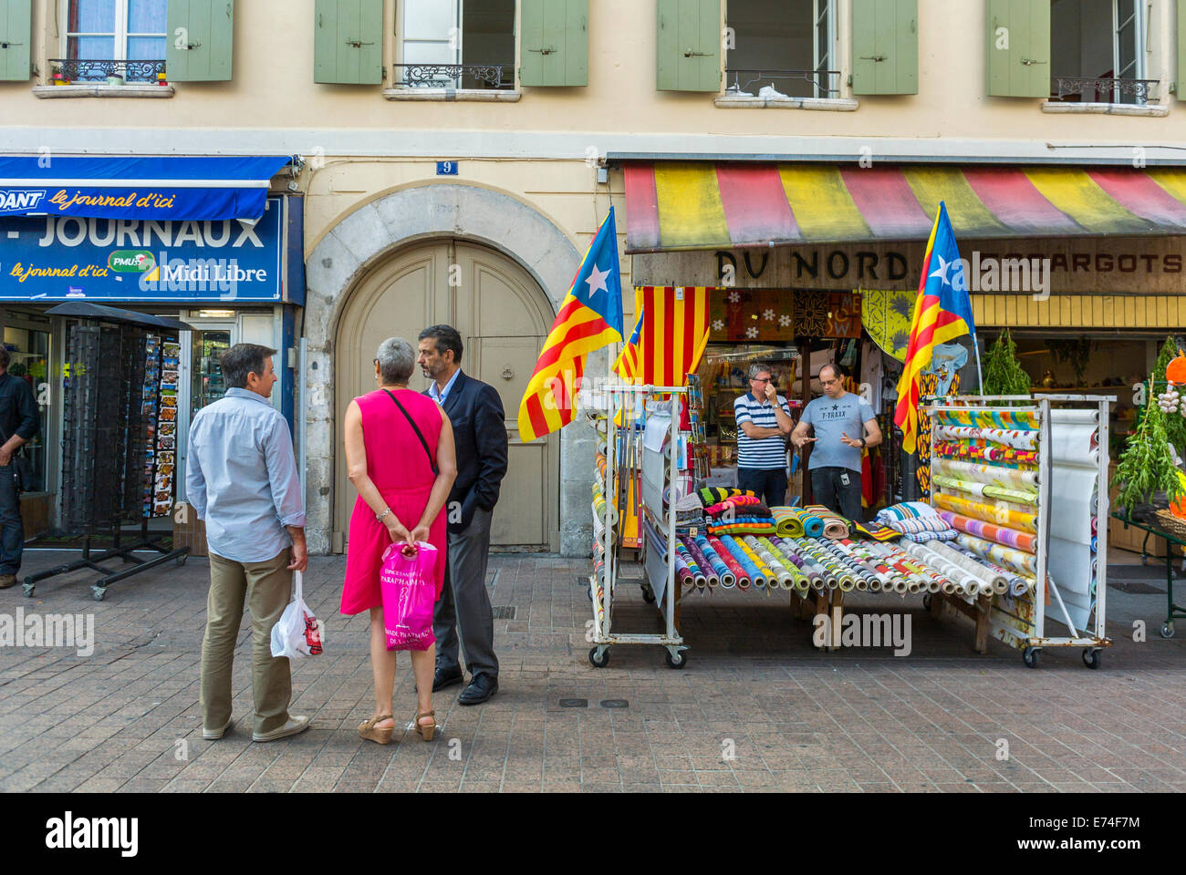 Perpignan france people talking on town square french shops local stock photo royalty free - Boutique free perpignan ...