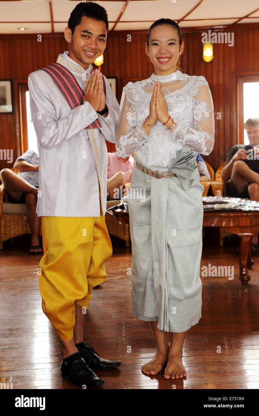 A Male And Female In Traditional Cambodian Wedding Costumes