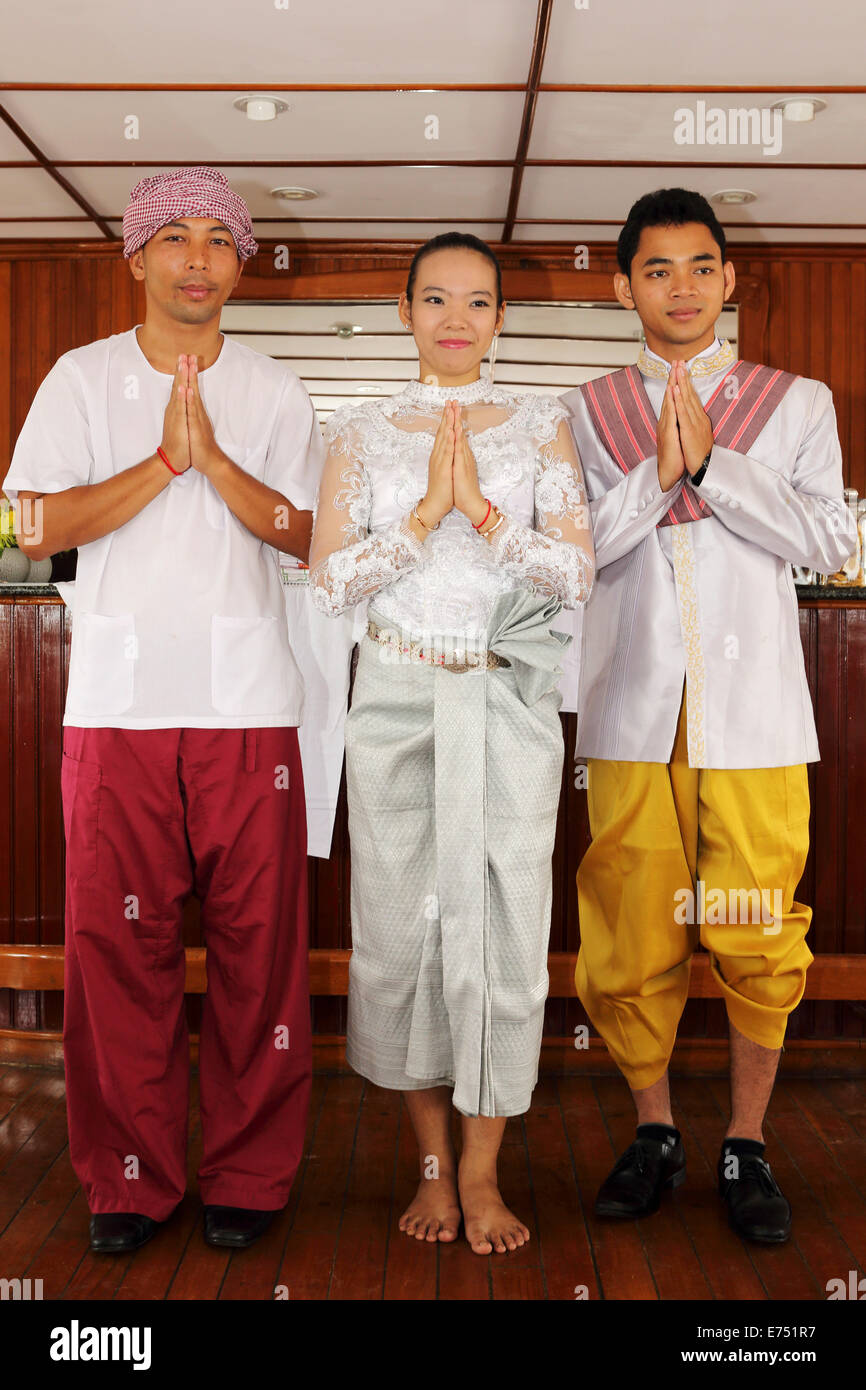 Men and a woman in traditional Cambodian costumes Stock ...