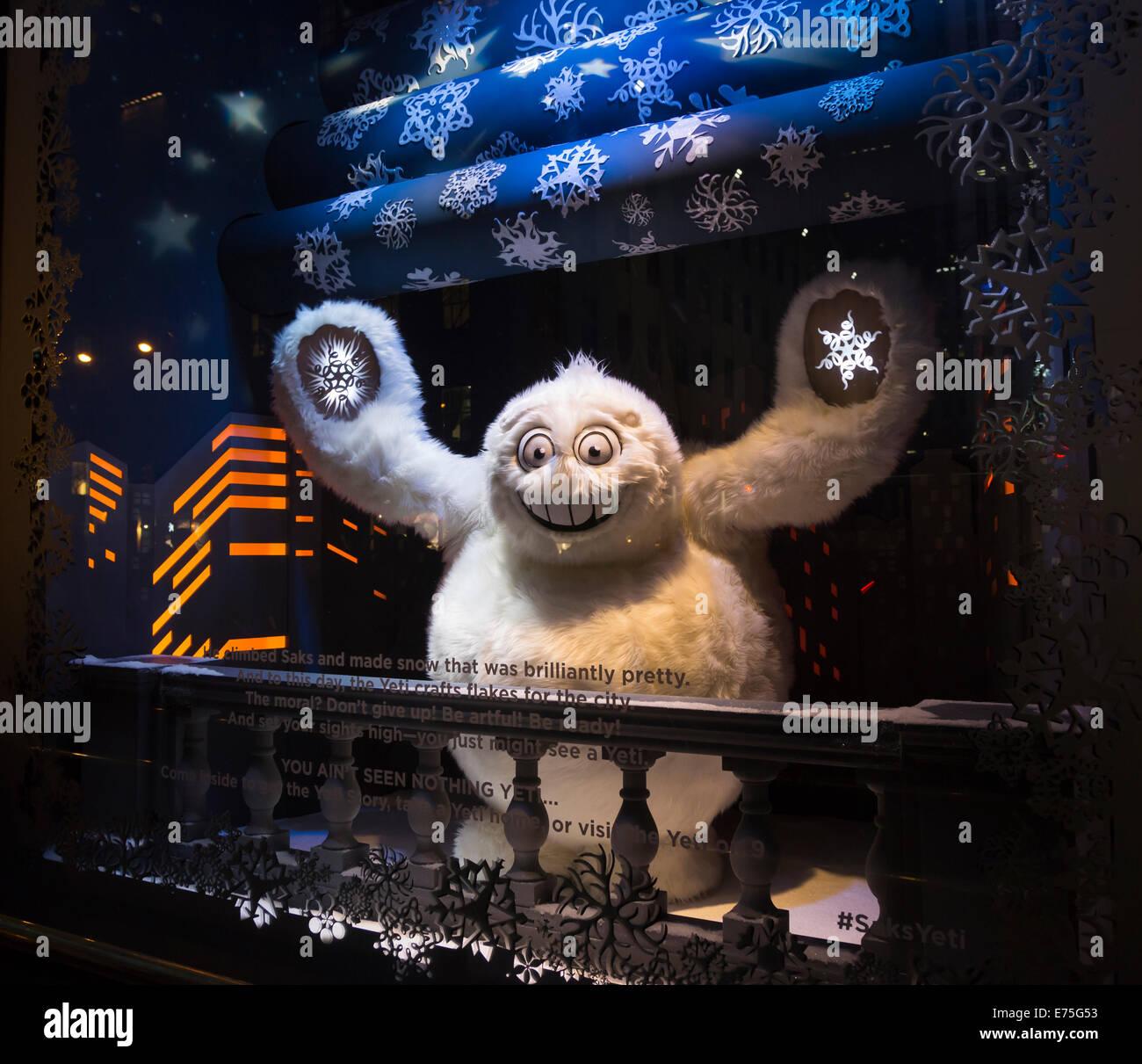 Christmas yeti in Saks Fifth Avenue traditional festive Christmas ...