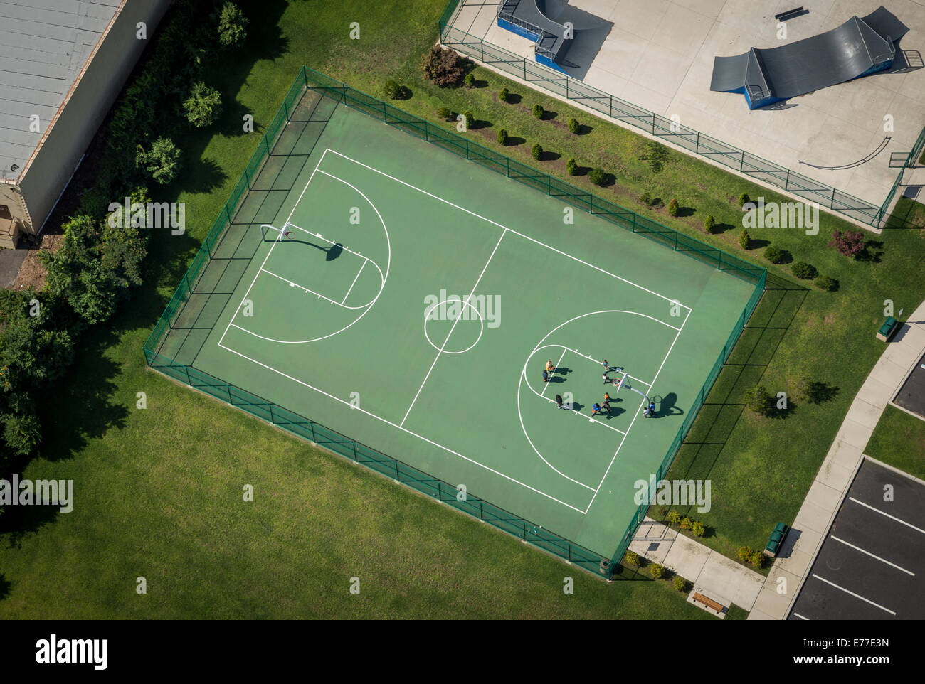 Outdoor Basketball Court Aerial View