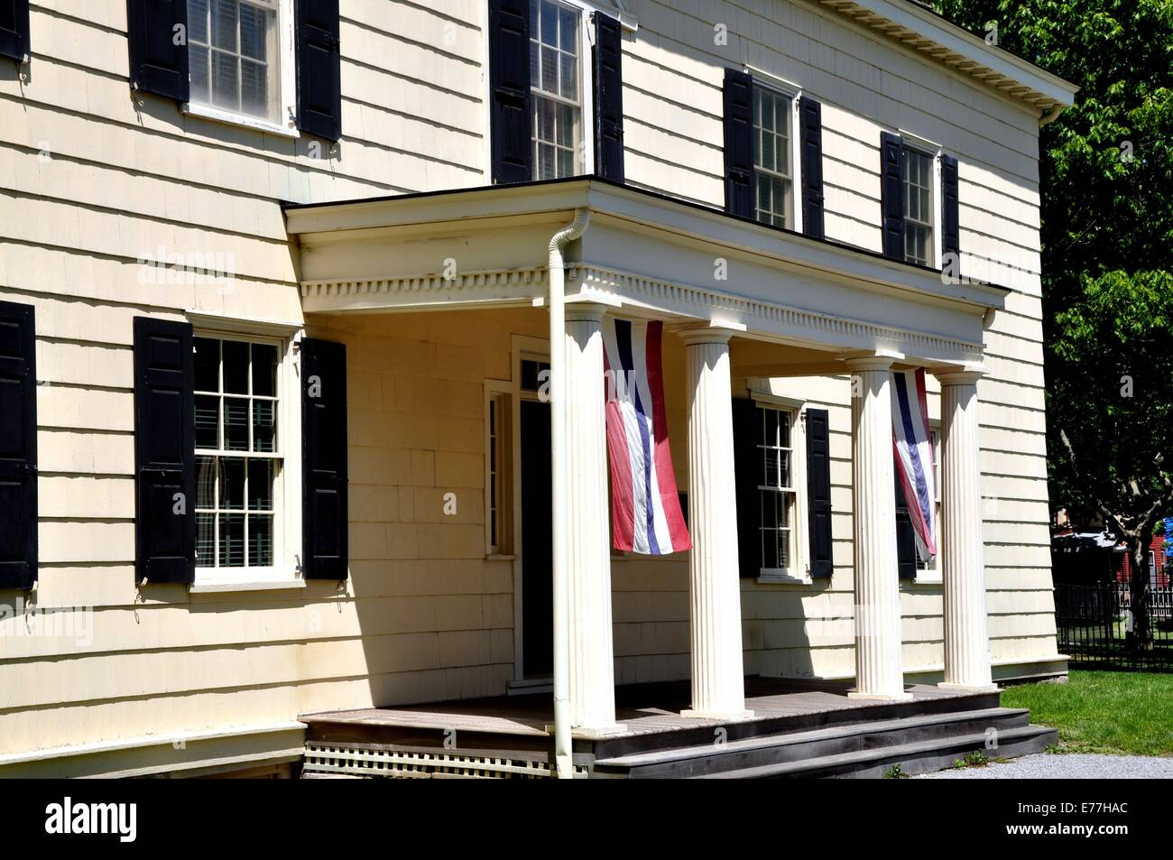 Entrance With Portico Columns : New york city entrance portico with four columns at the