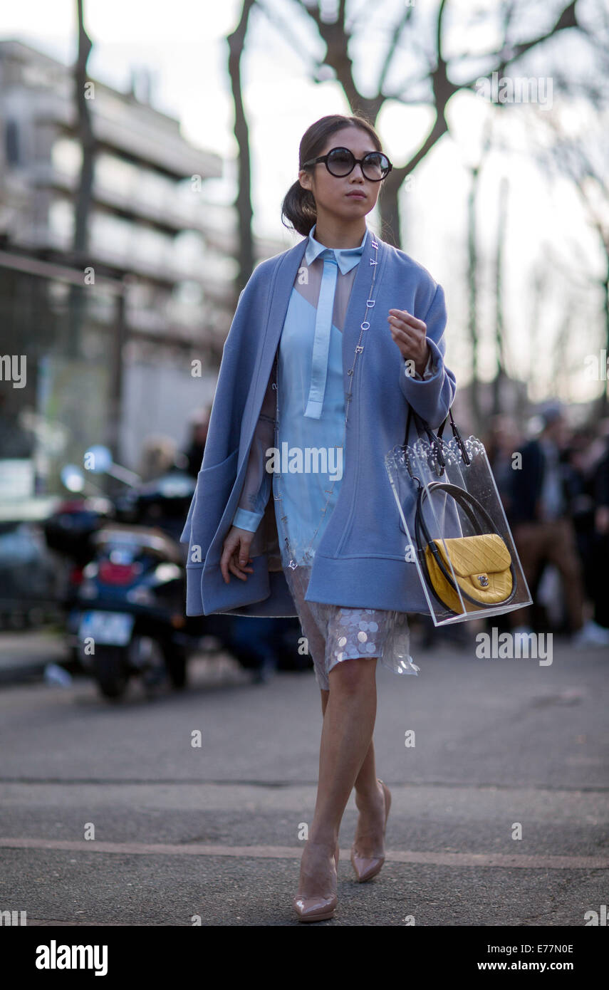 Paris Fashion Week Womenswear Fall Winter 2014 2015 Street Style Stock Photo Royalty Free
