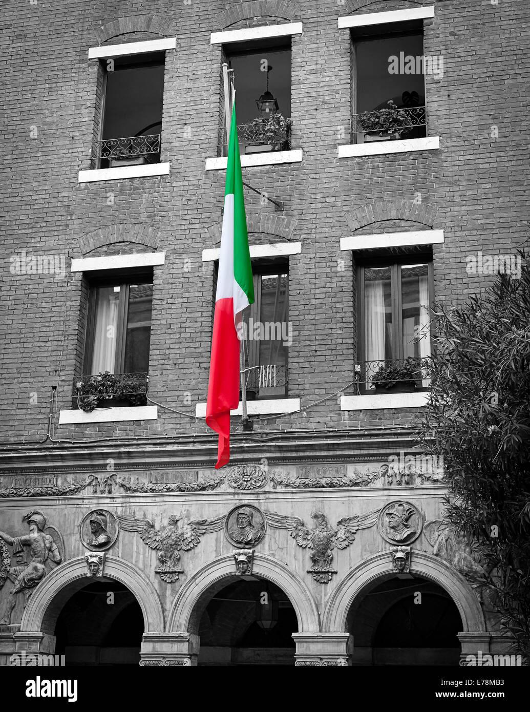 Italian Flag In Colour Against A Grey Brick Building Venice Italy