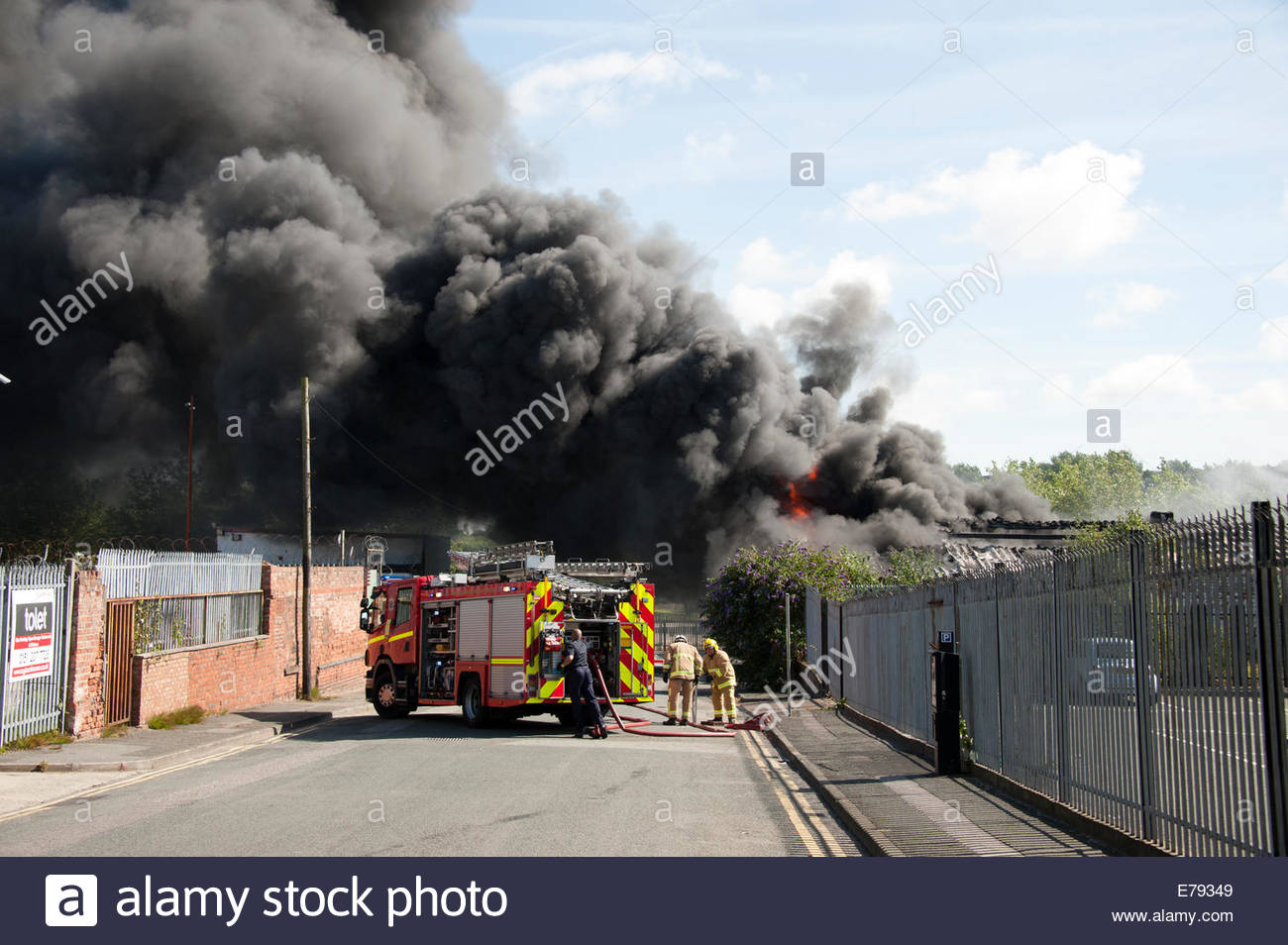 thick black smoke fire engine truck flames factory stock photo royalty  image  alamy