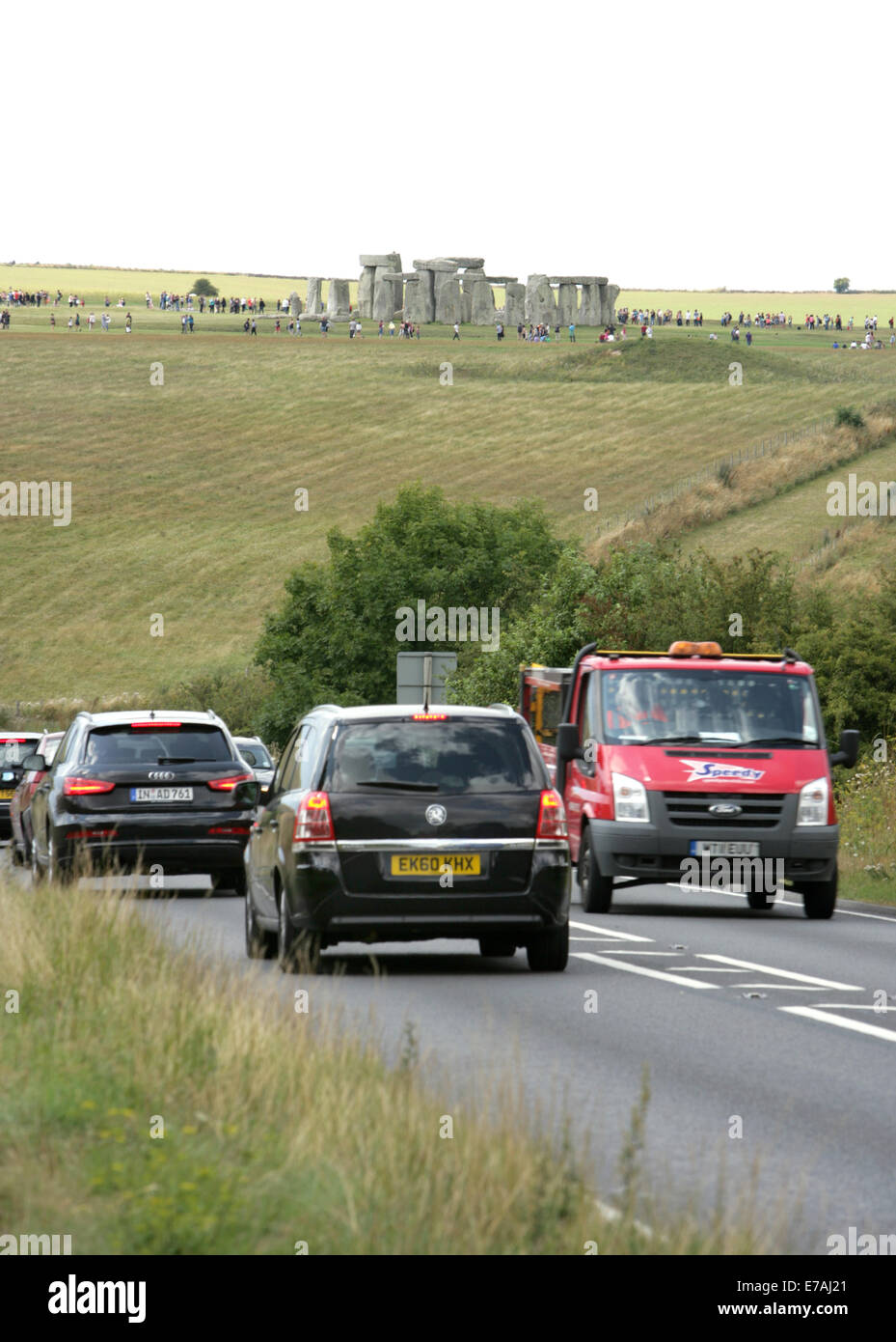 Holiday traffic stationary on the A303 approaching the World
