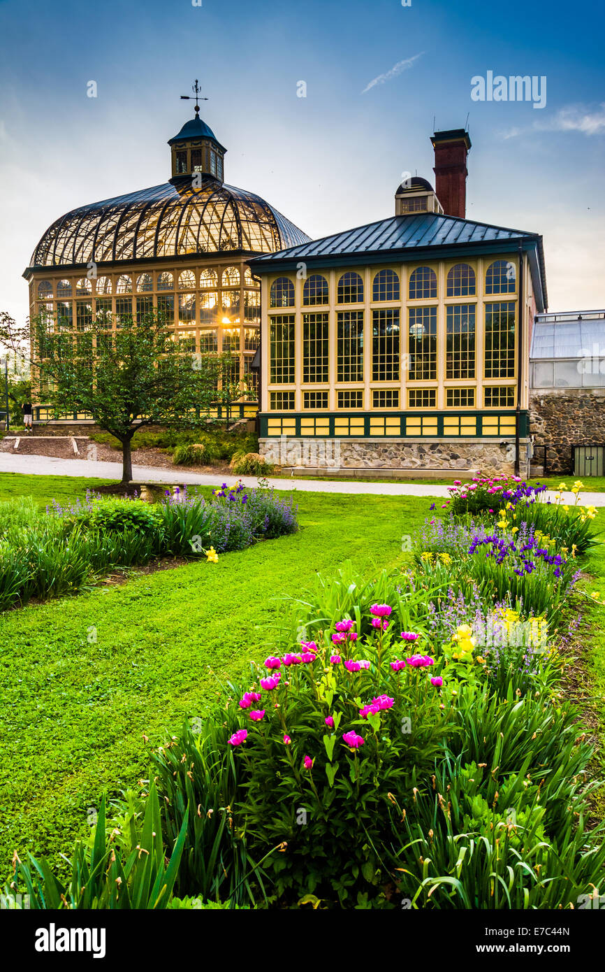 Gardens And The Howard Peters Rawlings Conservatory At Sunset In Druid Hill  Park, Baltimore, Maryland
