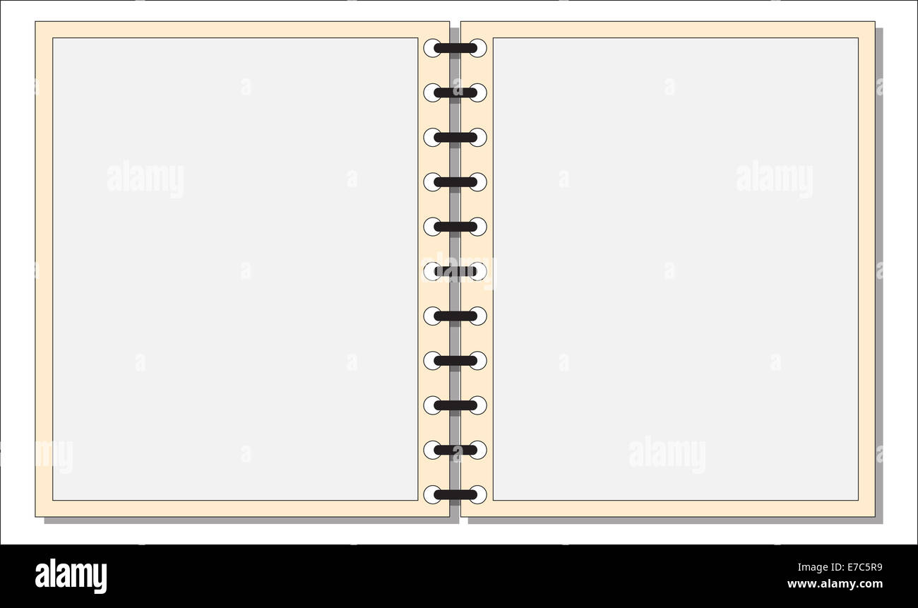 An open notepad template or background isolated on a white ...