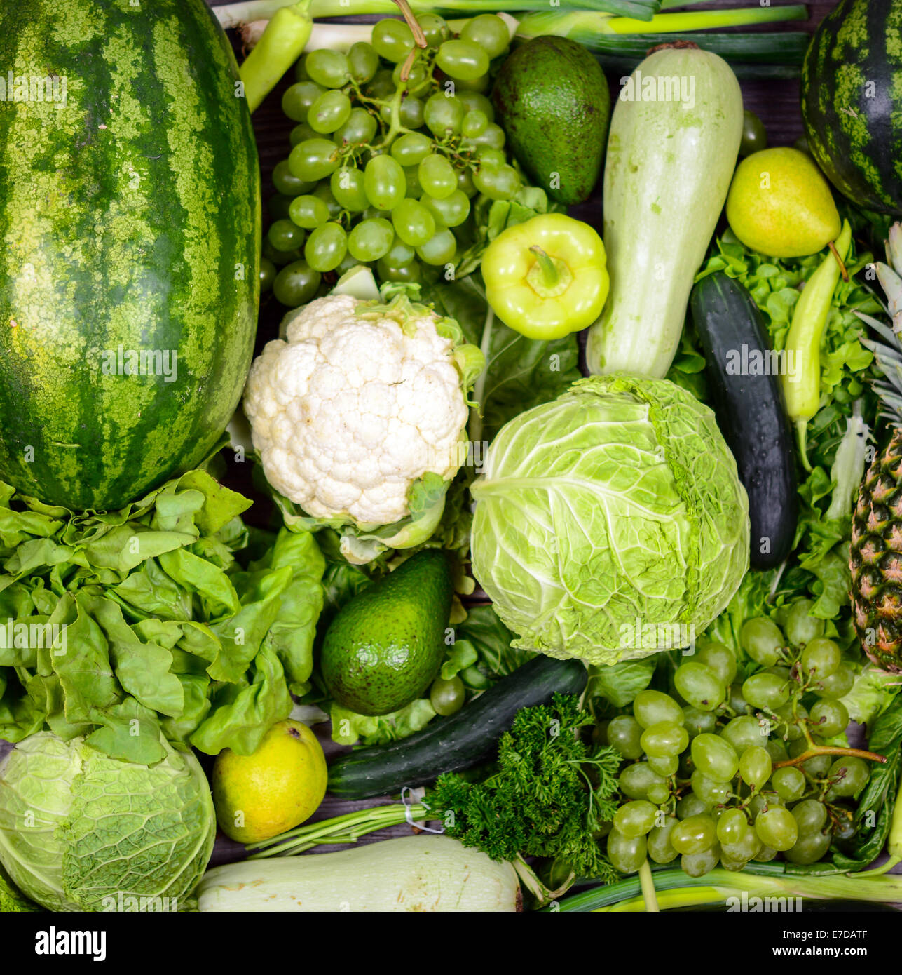 huge group of fresh green fruit and vegetables concept of