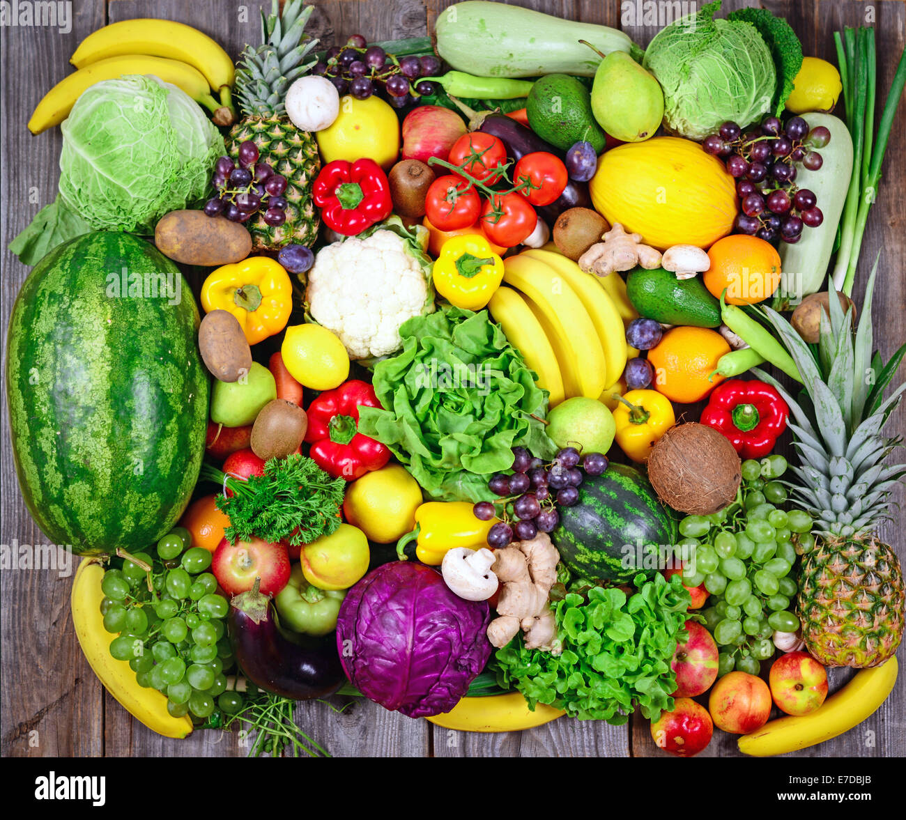 Huge group of fresh vegetables and fruit on wooden ...