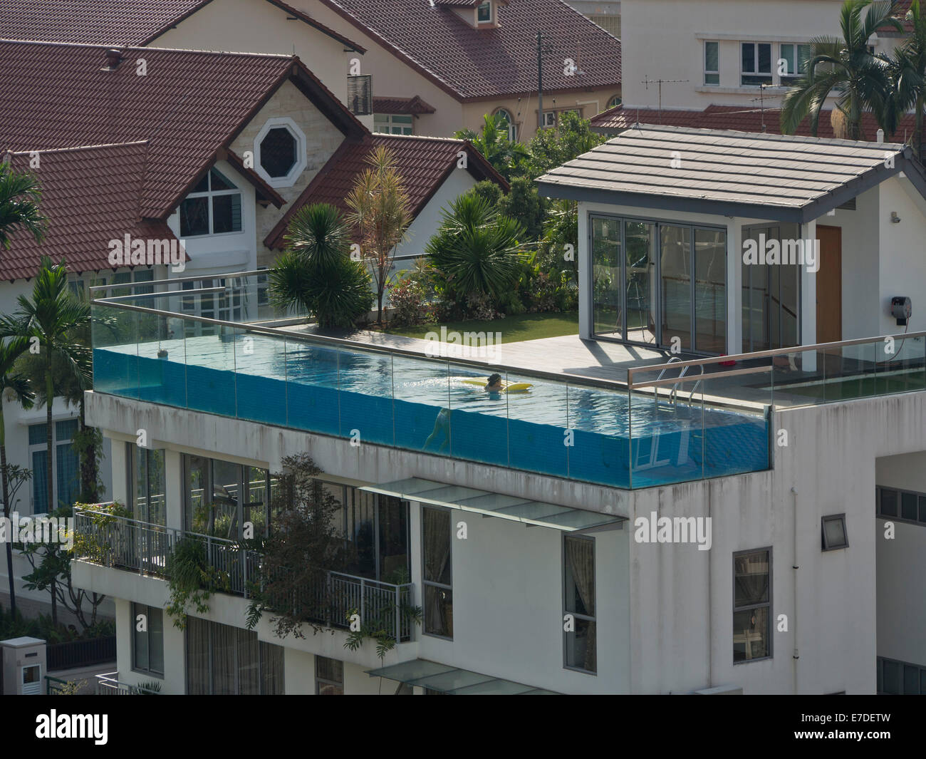 Swimming Pool At A Luxury House In Singapore Stock Photo Royalty Free Image 73441113 Alamy