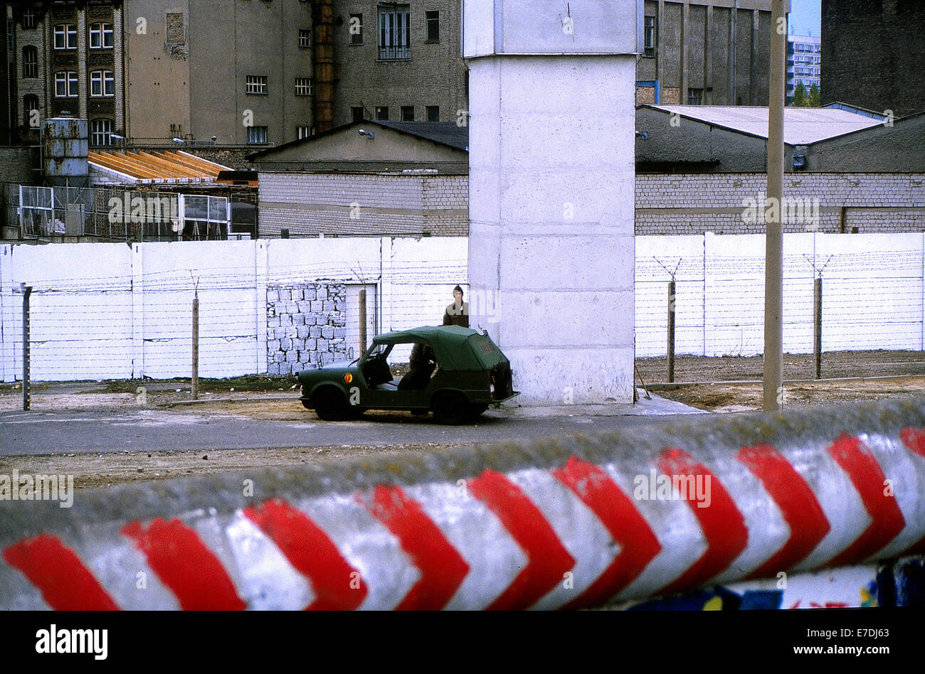East German Border Guards Patrol In A Trabant Kuebel The Border Strip Along  The Berlin Wall