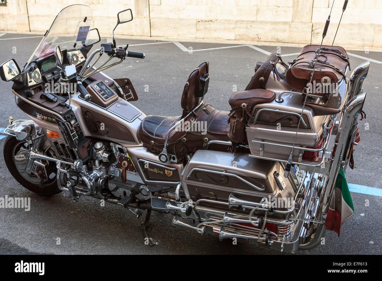 parked honda goldwing motorcycle, liguria, sanremo, italy stock