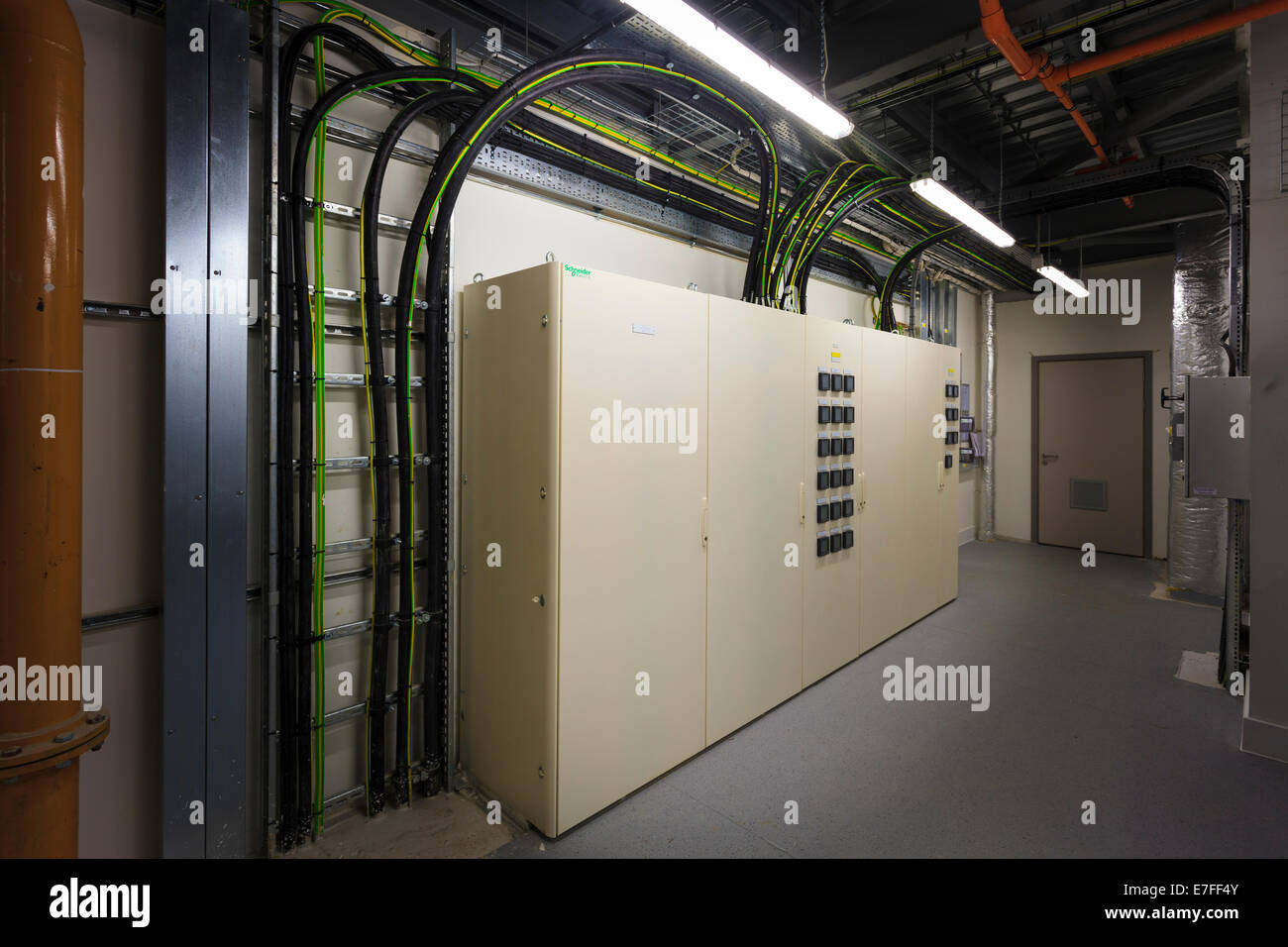 Cabling to electrical control boxes in plant room Stock Photo ...