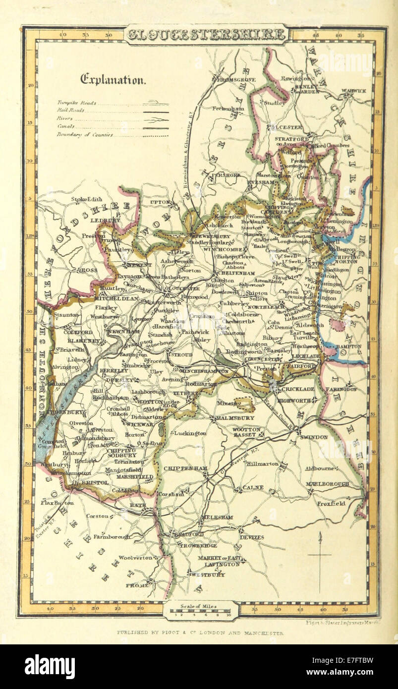 Pigot and Co 1842 p1220  Map of Gloucestershire Stock Photo