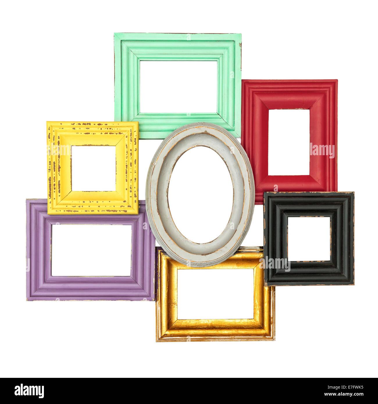 Vintage style multicolor frames for your photo and picture shabby vintage style multicolor frames for your photo and picture shabby chic object isolated on white background jeuxipadfo Images