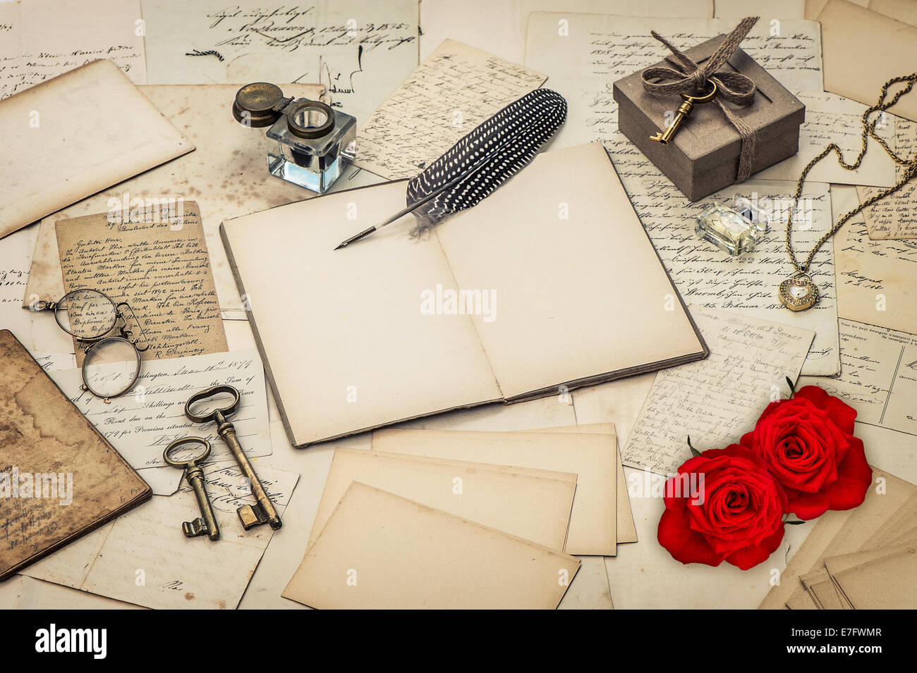 stock photo diary book old love letters and red rose flowers nostalgic sentimental background retro style toned picture