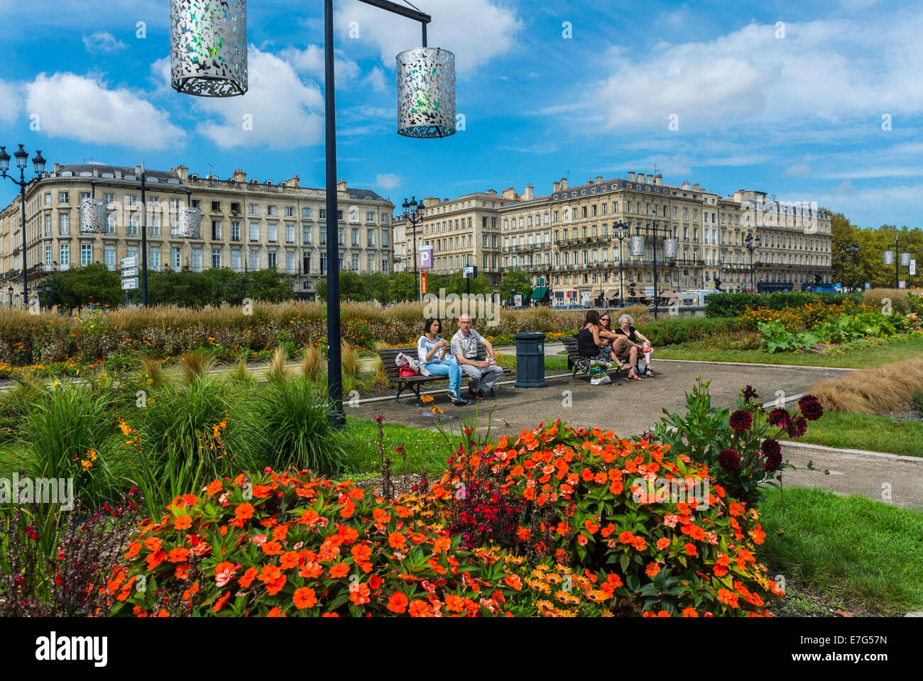 bordeaux france people enjoying public park town square place de stock photo royalty free. Black Bedroom Furniture Sets. Home Design Ideas