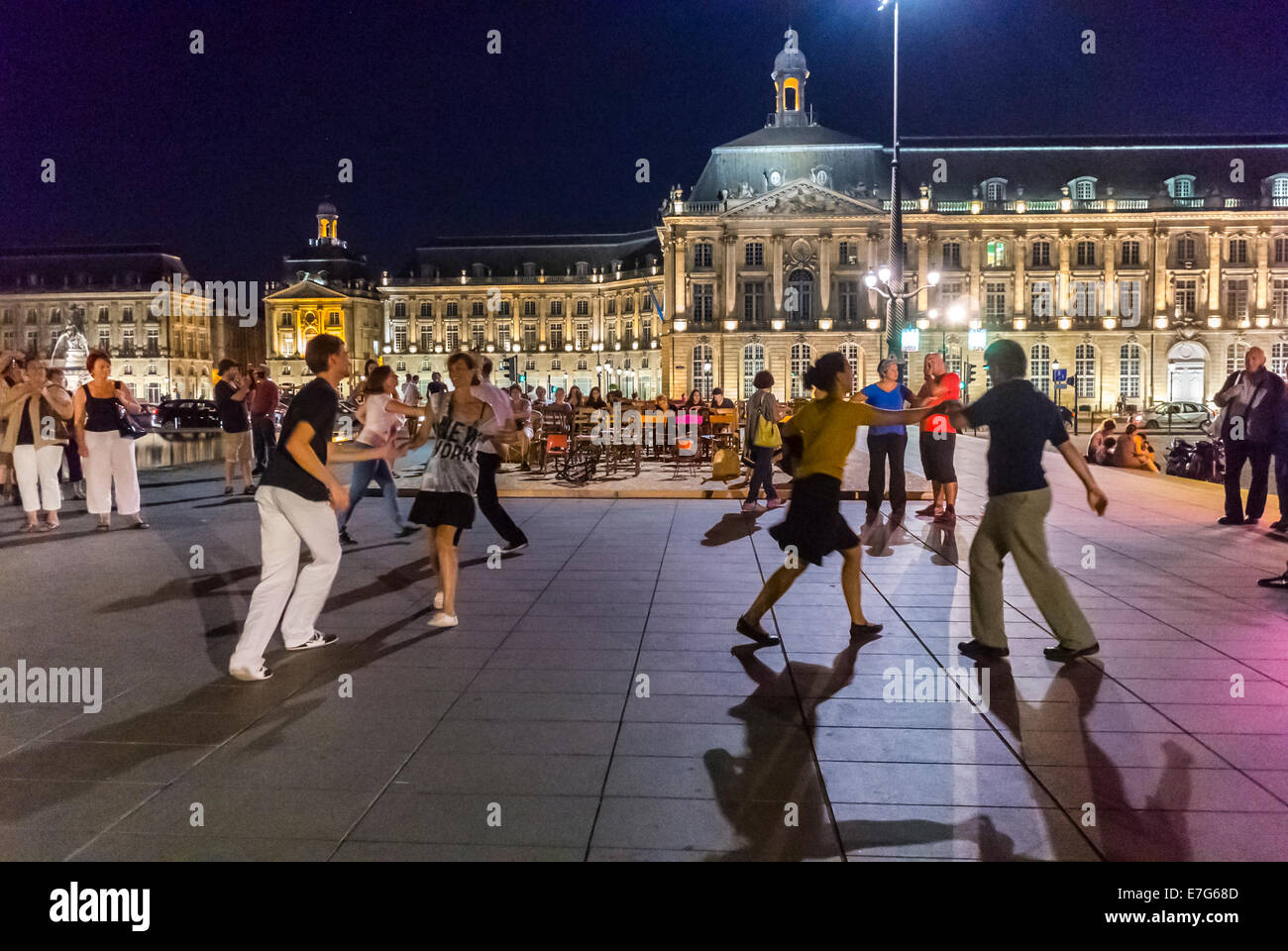 Bordeaux, France, Street Scenes, Crowd French Teen And Adult Couples  Dancing On Town