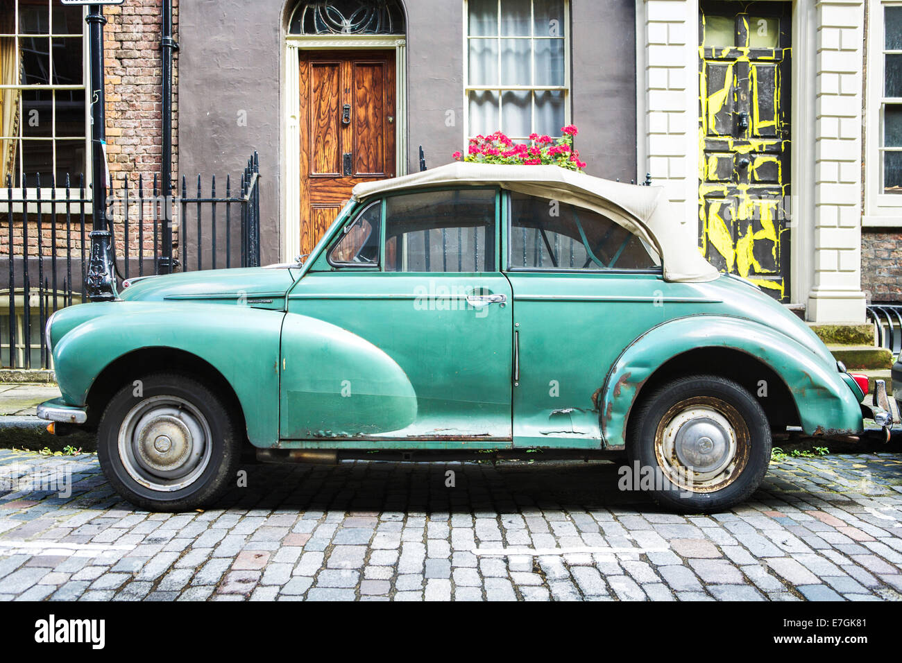 Morris Minor convertible (old British car vehicle), parked on a ...