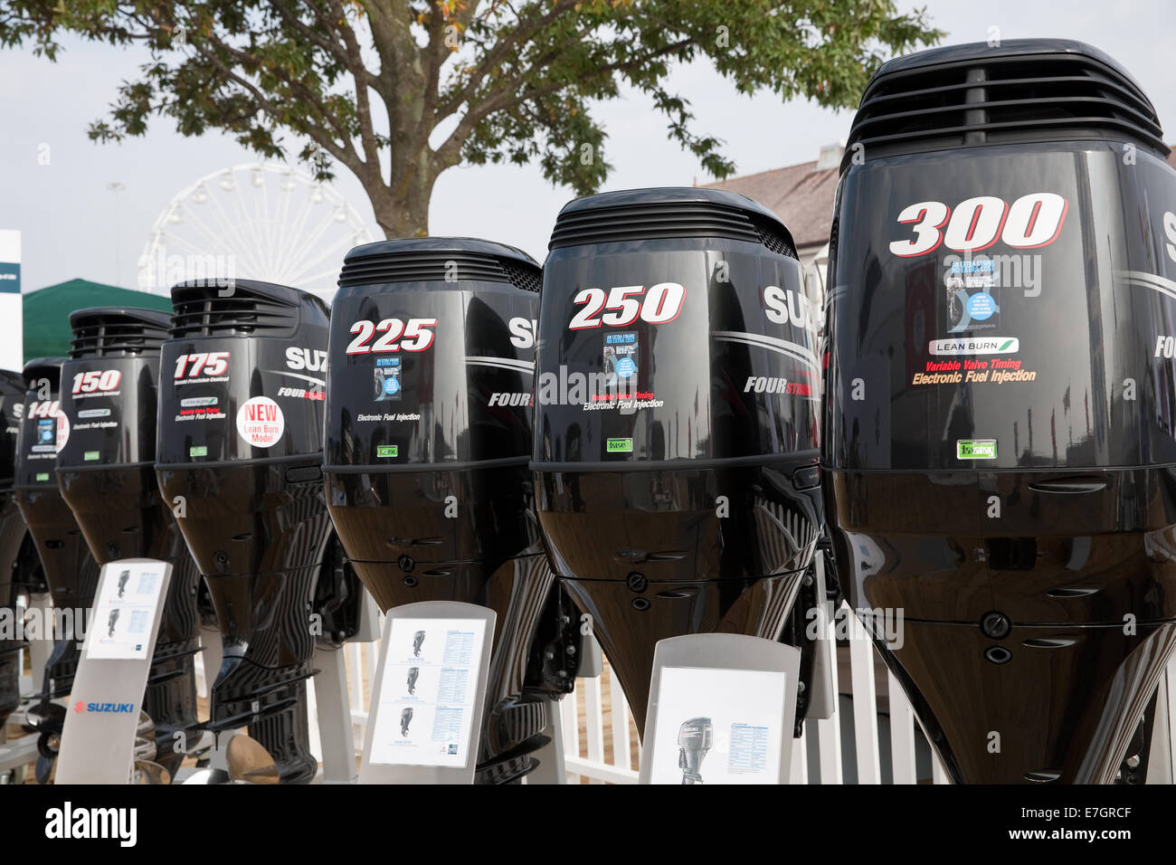 Suzuki outboard motors at the southampton boat show 2014 stock image
