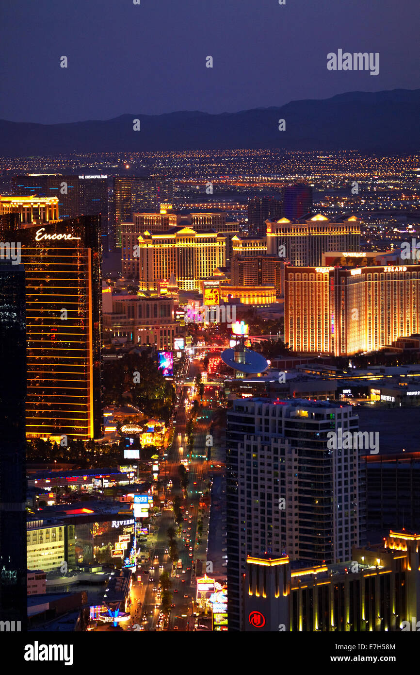 Las Vegas Night View: Night View Of Hotels And Casinos Along The Las Vegas Strip