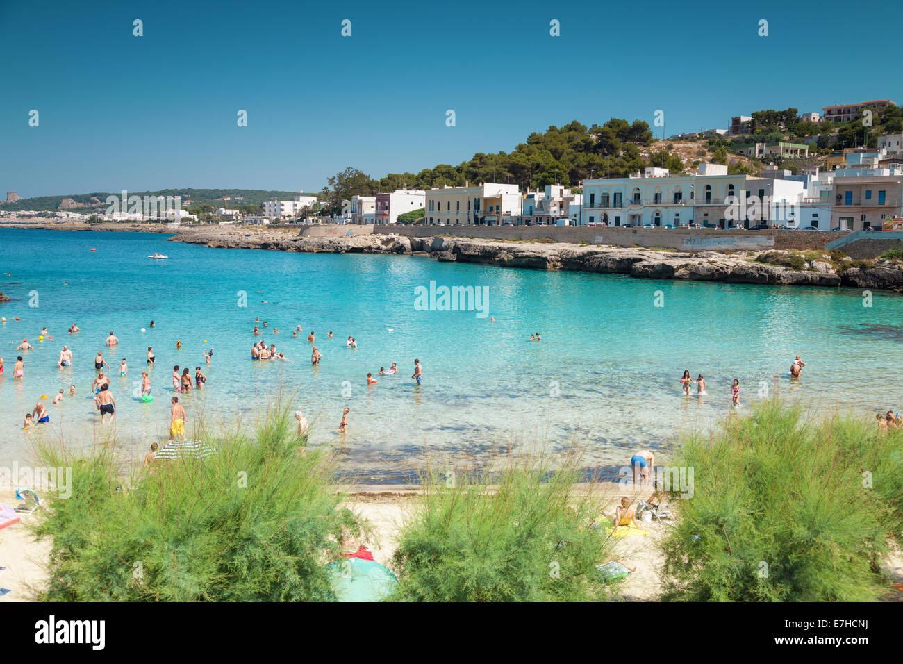 Santa Maria al Bagno city beach in Puglia Italy Stock Photo ...